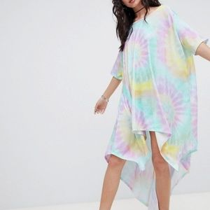 Rokoko drapey t-shirt dress in tie dye